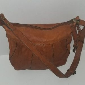 Fossil Red Tan Brown Leather Hobo Shoulder Bag